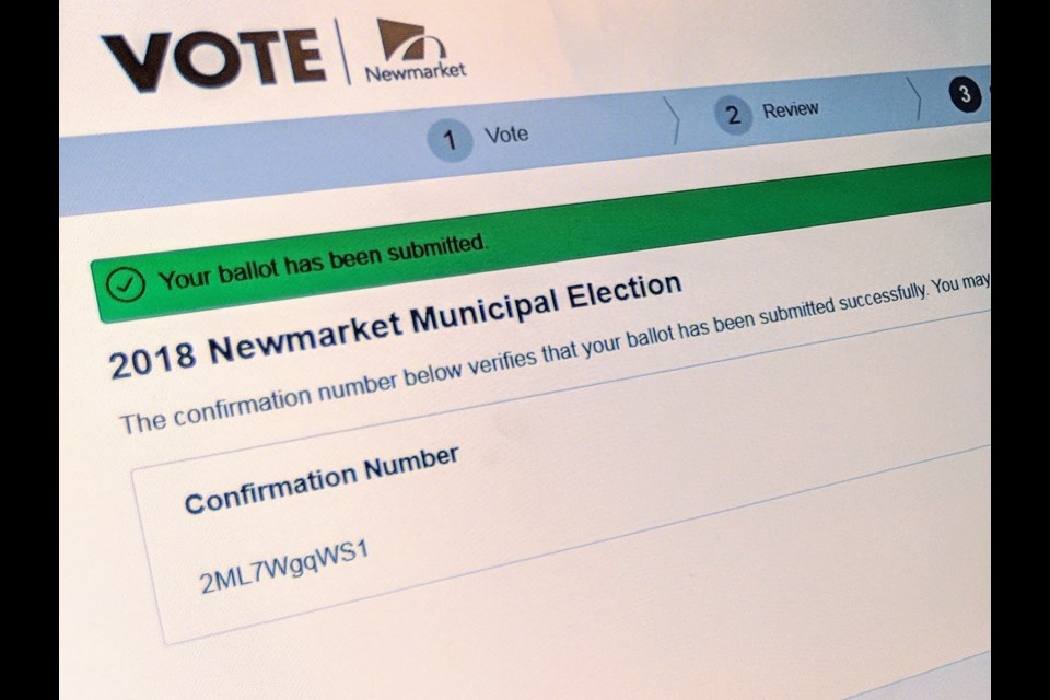 Newmarket residents have five days left to vote in the 2018 municipal election. Voters will receive a confirmation number once their votes are submitted.