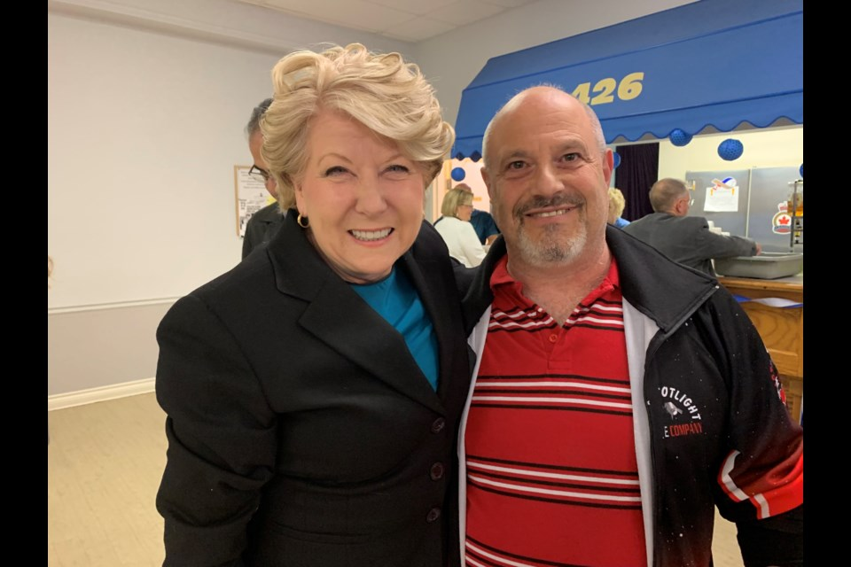 Newmarket-Aurora Conservative candidate Lois Brown with Farley Charad at the Newmarket Legion on election night before the results are in. Debora Kelly/NewmarketToday