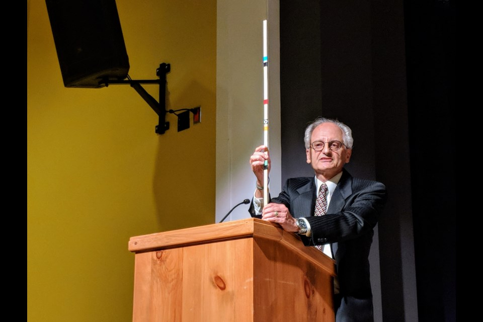 The Green Party's Walter Bauer used a prop to show how each federal party's climate change plan would reduce greenhouse gas emissions. The higher the party on the stick, such as the Conservatives, the less of an impact their policies would have on battling climate change. Kim Champion/NewmarketToday