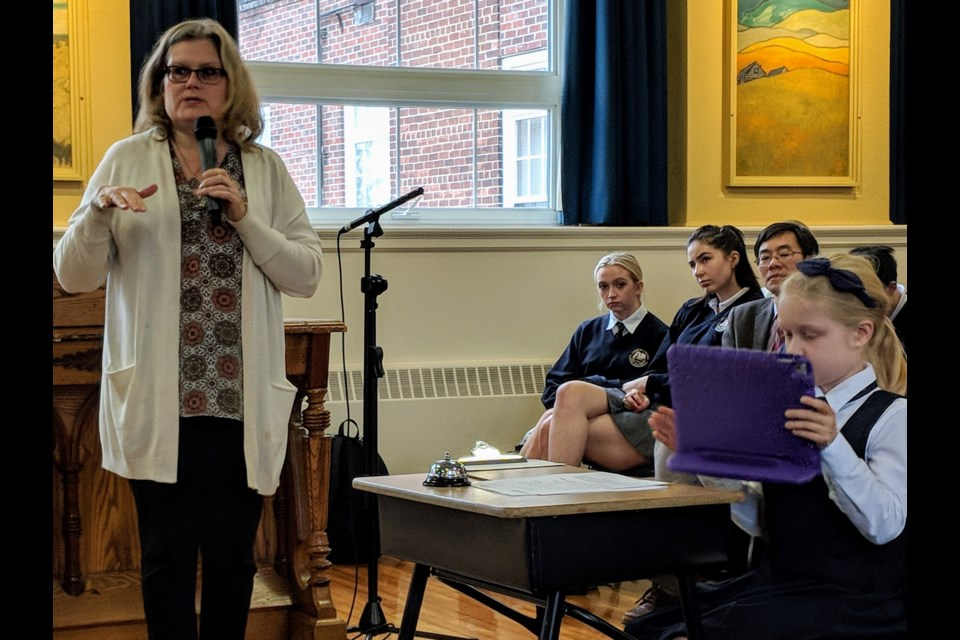 Newmarket-Aurora NDP candidate Yvonne Kelly is shown here at a student-led all candidates debate Oct. 3, 2019. Kim Champion/NewmarketToday