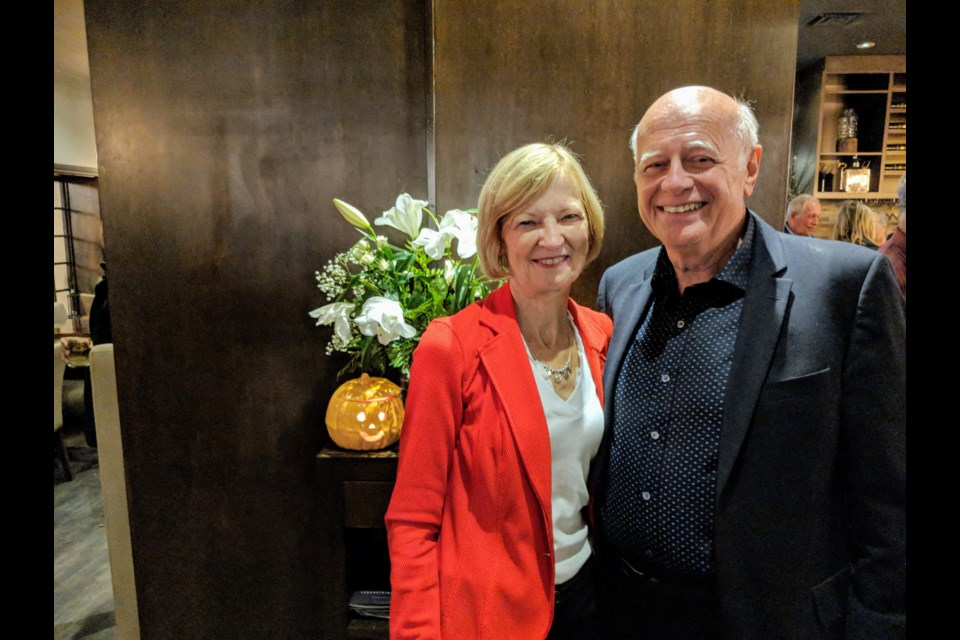 Newmarket-Aurora's new Liberal MP Tony Van Bynen and his wife, Roxanne, celebrate his win on election night at Cachet Supper Club. Kim Champion/NewmarketToday