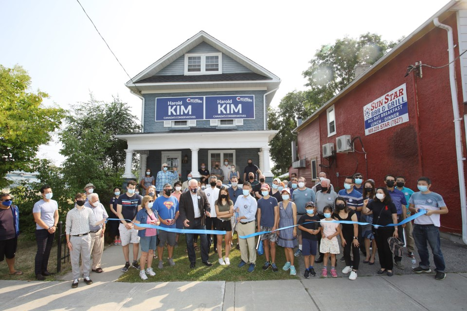 A ribbon cutting ceremony was held today to open the campaign office for Newmarket-Aurora Conservative candidate Harold Kim at 11 Main St. South.  Greg King for NewmarketToday