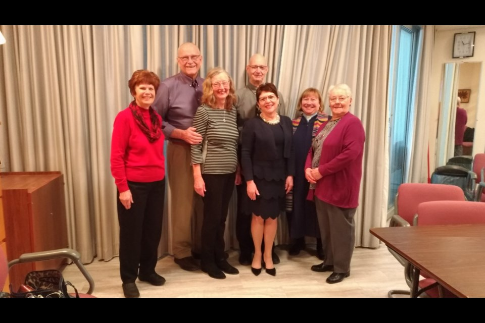 Volunteers Janet Thacker, David Hoath, Lynn Hoath, Bill Stephens, Sheila Stephens, Rev. Laura Duggan, and Adela MacDonald are shown here at St. Andrew's Presbyterian Church on Feb. 16, 2020. Julia Galt for NewmarketToday