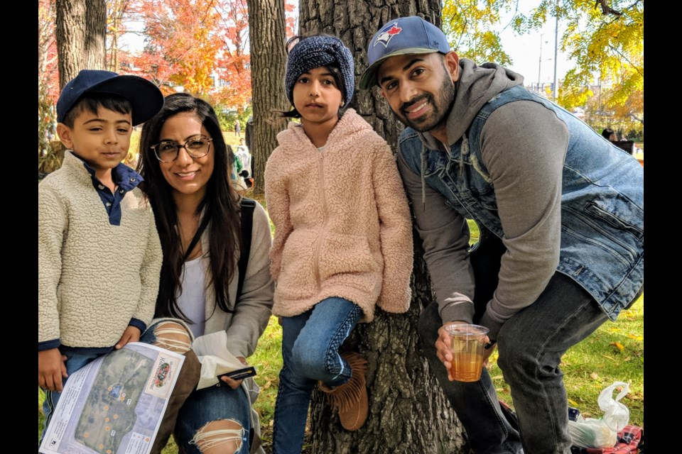 The Gawtam family enjoyed the activities at the Town of Newmarket's heritage picnic Oct. 20 on the grounds of the Mulock Estate property. Shown above from left are, Riaan, Dimple, Ella, and Kapil. Kim Champion/NewmarketToday