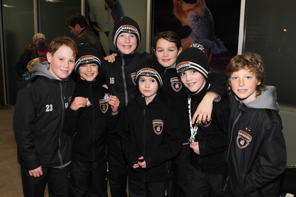 Nash McGill, Jax Pereira, Owen Proctor, Van Pereira, Kale Kinniburgh, Ryan Proctor and Cameron Meek of the North Durham Warriors at the Magna Centre for the Silver Stick tourney Jan. 12.  Greg King for NewmarketToday