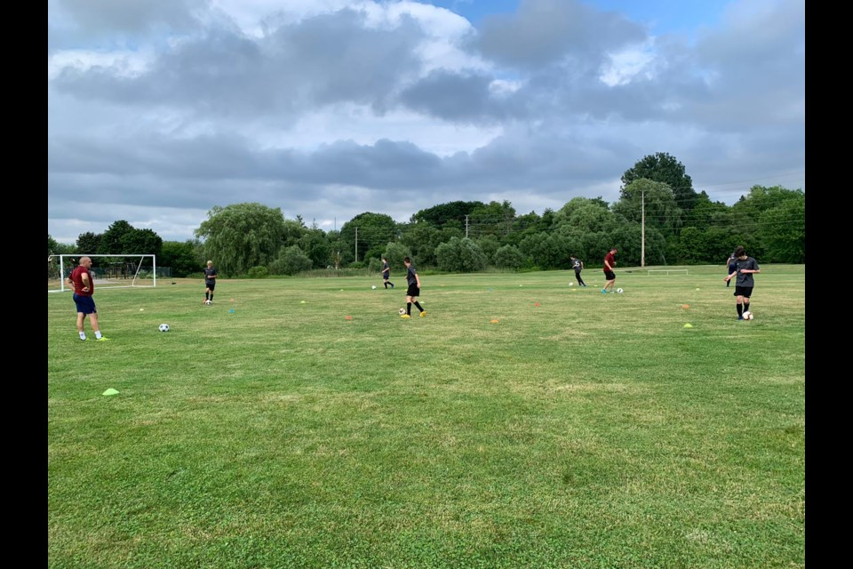 The Newmarket Soccer Club's U15 boys are shown here back in action on the pitch on July 24, 2020. Supplied photo/Newmarket Soccer Centre