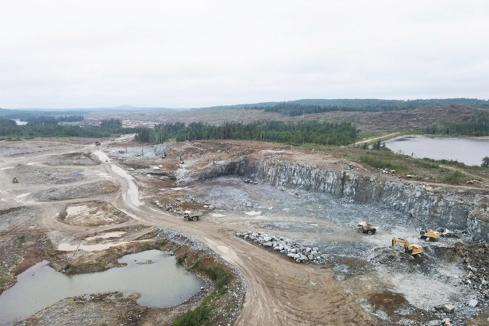 Excavators are stripping the site to outline the open pit of the Magino Mine near Dubreuilville. (Argonaut Gold photo)