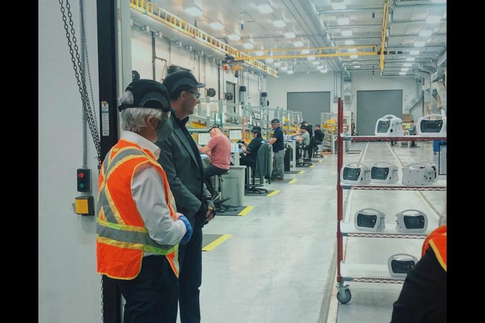 Bombardier Thunder Bay's new ventilator assembly line. (Photos supplied by Marcus Powlowski)
