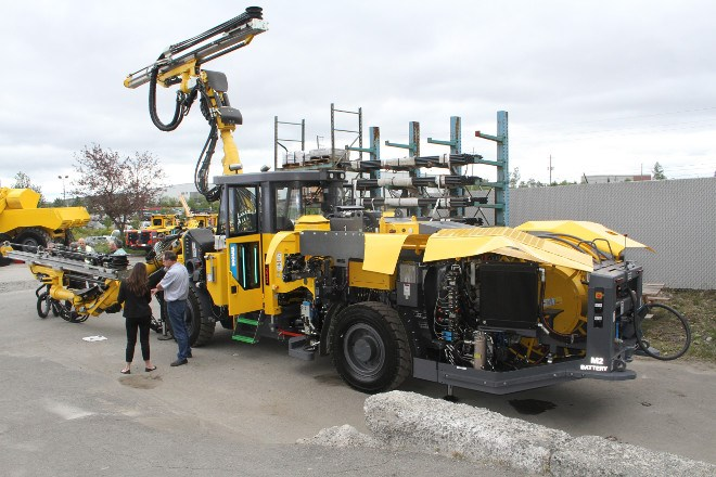 The new battery-operated Boomer M2C Battery driller being offered by Atlas Copco was on display at the shop in Lively on Wednesday as the company officially launched their full suite of battery-powered mining vehicles, which shop manager Jean Labelle says will cut down of emissions, diesel fumes and even time lost to refuel vehicles and hauling fuel underground.