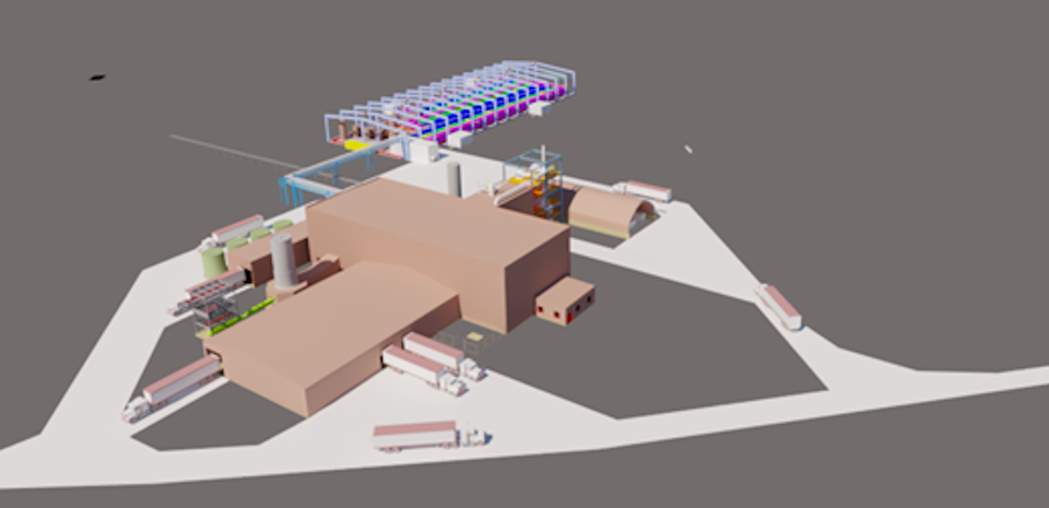 Rendering of First Cobalt's refinery at the time of its commissioning in late 2022 (Supplied)