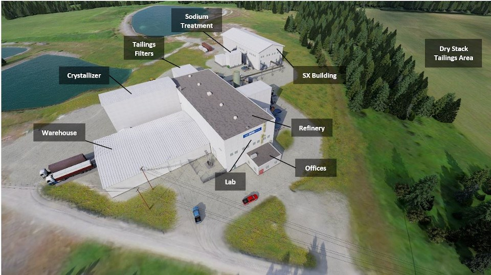 Site rendering of upcoming new construction at First Cobalt's refinery outside the town of Cobalt (supplied)