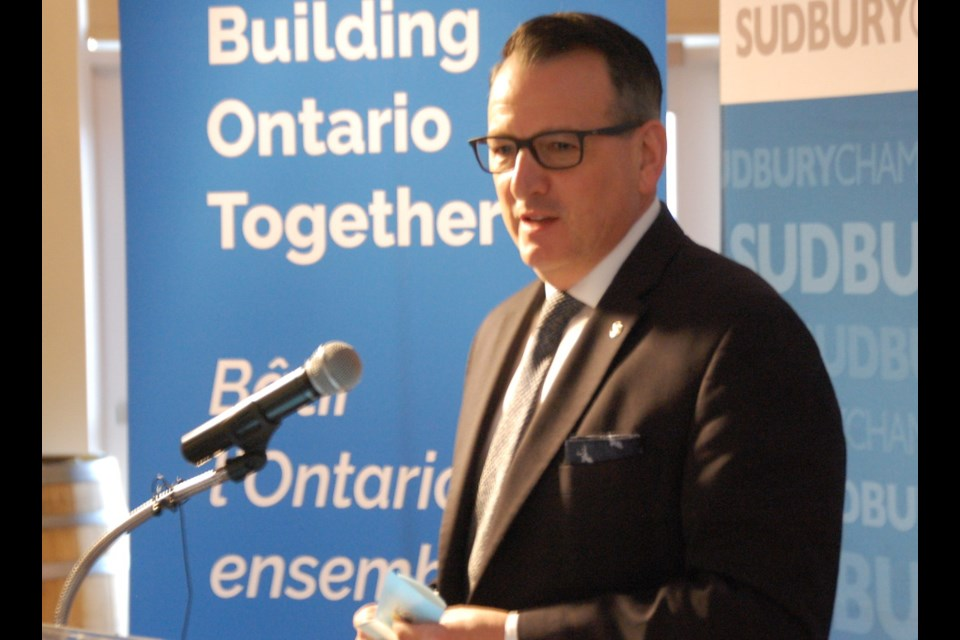 Energy, Northern Development and Mines Minister Greg Rickford speaks in Sudbury, March. 5.