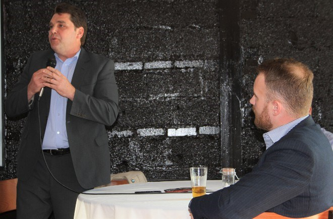Paul Bradette, SAMSSA's new director of marketing, addresses the crowd at the first SAMSAA Export Club meeting on May 17 during open question period.