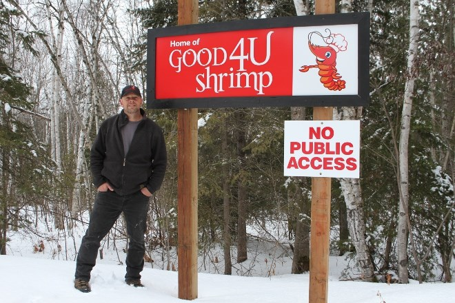 Kerry LeBreton, partner of Good4Ushrimp Inc., at the front entrance to the Pacific white shrimp farm in Estaire. He says they expect to be open for business by this summer or early fall.