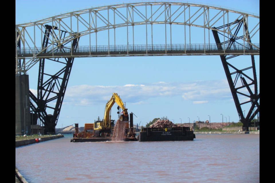 Dredging continues on the approach channel to the proposed new lock at Sault Ste. Marie, Mich. (U.S. Army Corps of Engineers photo)