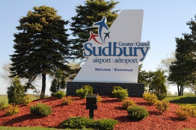 Sudbury airport sign