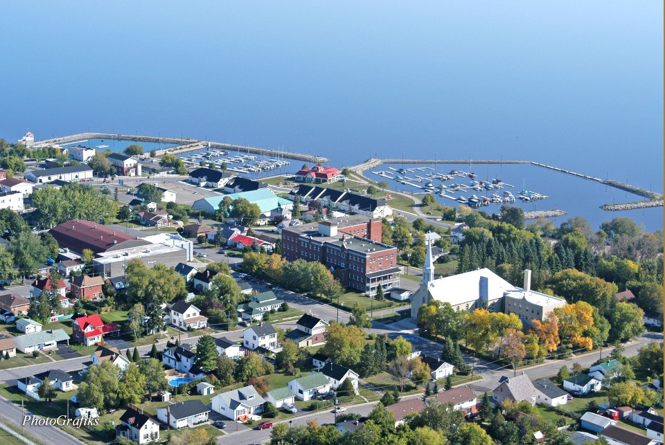 Temiskaming waterfront aerial