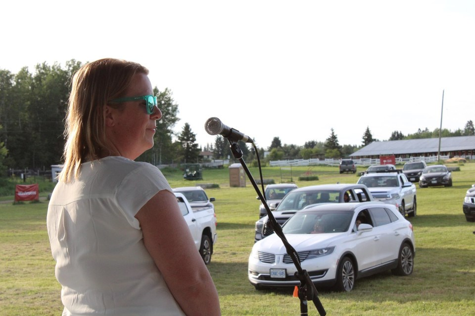 Sleeping Giant Brewing boss Andrea Mulligan accepted the Thunder Bay Chamber's Business Person of the Year Award at Boomer's Drive-in, June 16 (Chamber photo)