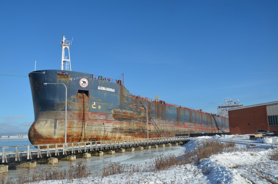 Four vessels are wintering in Thunder Bay, including the Algoma Guardian, Algoma Strongfield and the Frontenac at Keefer Terminal (Port of Thunder Bay photos)