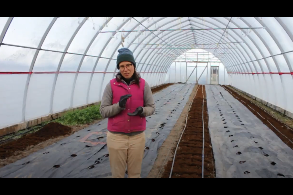 Isabelle Spence-Legault, co-owner at Field Good Farms west of North Bay, speaks about the benefits of hoophouses to help extend the growing season. (Image supplied)