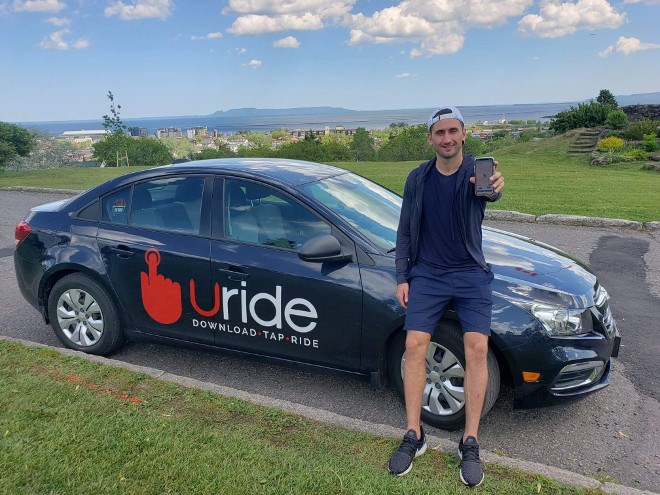 Cody Ruberto launched Uride, an app-based ridesharing service, three years ago in his hometown of Thunder Bay. (Supplied photo)