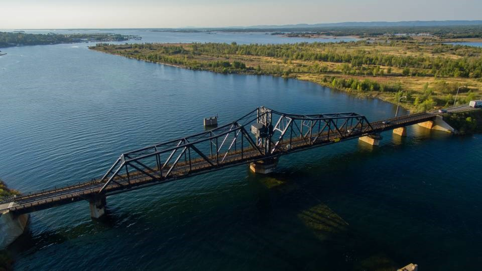 The swing bridge connecting Manitoulin Island to the mainland of Ontario was completed in 1913.