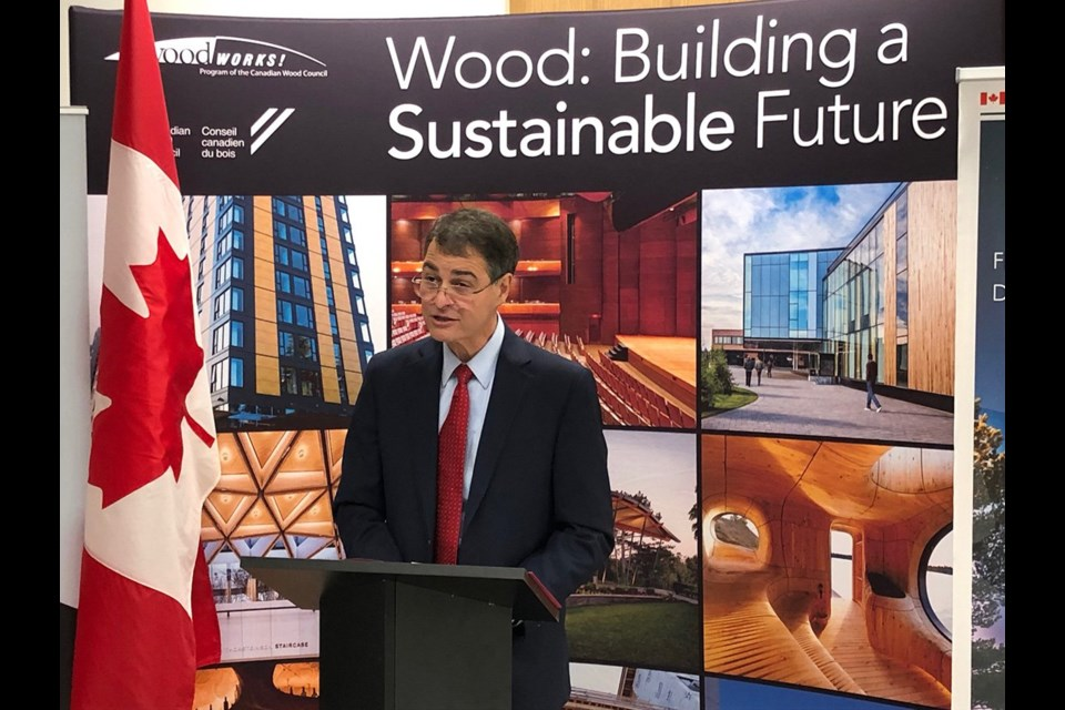 Anthony Rota announced $1.2 million in federal funding for the Canadian Wood Council in North Bay on May 10. (Twitter photo)