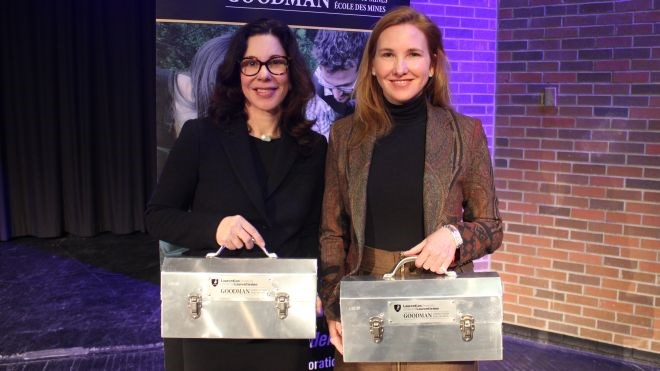 Mine developers Eira Thomas (right) and Catherine McLeod-Seltzer spun stories during a fireside chat at Laurentian University's Goodman School of Mines in Sudbury, Jan. 10.