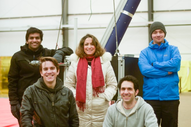 Toronto-based SpaceRyde chose Jack Garland Airport in North Bay for the first test flight of its satellite-launch system on June 9. The team comprised (clockwise from back left) Anirudh Agarwal, Saharnaz Safari, Jonathan Lesage, CEO Sohrab Haghighat and Andreas Marquis. (Supplied photo)