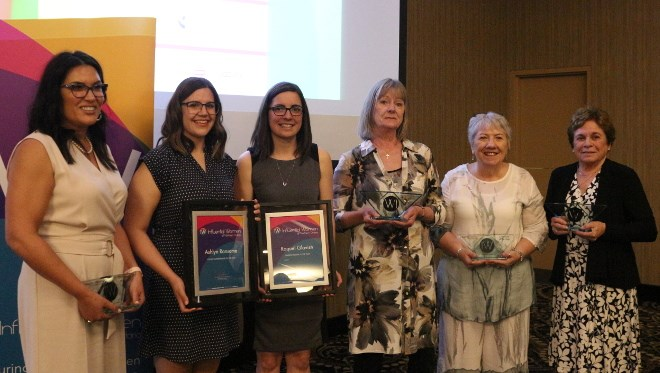 The 2019 IW Award winners from northwestern Ontario are (from left) Melissa Hardy-Giles, Entrepreneur of the Year; Ashlyn Ransome, Young Entrepreneur of the Year; Raquel Glavish, Tradeswoman of the Year; Patricia Forrest, Influential Community Trailblazer; Madge Richardson, Executive of the Year; and Marlene Davidson, Aboriginal Leadership.