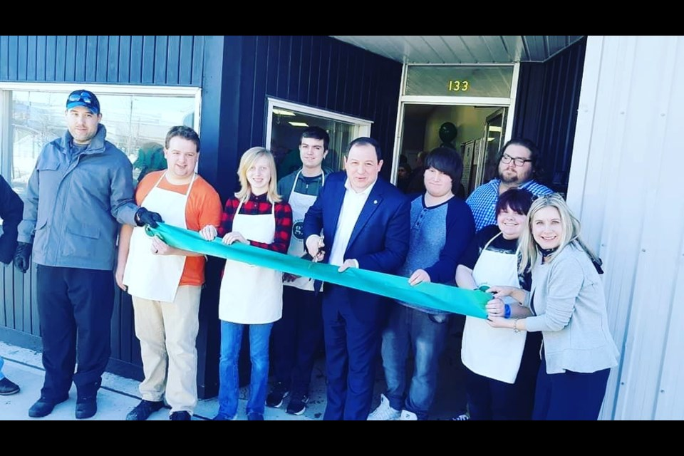 Grocer 4 Good, launched by Lisa Vezeau-Allen (far right), opened on March 6 in Sault Ste. Marie, with Mayor Christian Provenzano cutting the official ribbon. The grocery store is a social enterprise, employing people with an autism spectrum disorder, other intellectual disabilities, or those who are chronically underemployed, and all proceeds go back into the venture. (Supplied photo)
