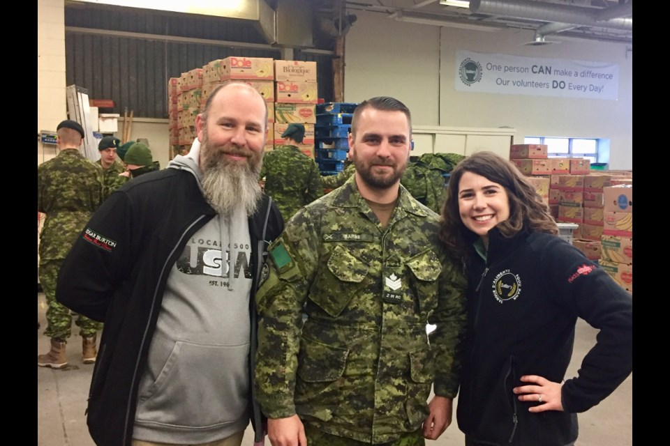 From left are Jeff LaLonde, USW campaign co-chair, Sgt. Scott Barbe, and Sarah Yasinchuk, Vale campaign co-chair. (Supplied photo/Vale)