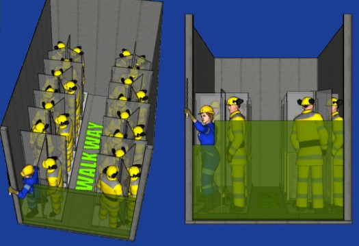 Sudbury's Rezplast Manufacturing has devised the Personal Protective Pod, a partition that can separate workers in a mine cage or elevator. (Supplied image)
