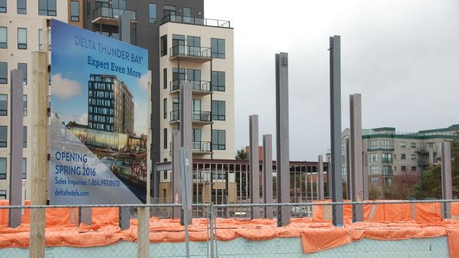 Construction of the Delta-Marriott on Thunder Bay's waterfront from last October.