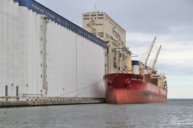 A FedNav ship anchored and ready for loading at one of the Viterra elevators. Port of Thunder Bay president Tim Heney says grain exports have steadily increased, as well as profits, out of the port. This is due to many factors, including the elimination of the Wheat Board, aggressive efforts by the port authority administration to attract more shipping into, and out of, the port, as well as back-to-back bumper crops over the past two years.