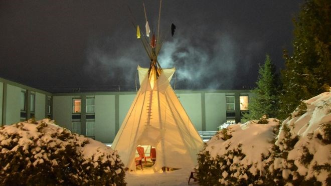 The new teepee at Ramada Timmins serves as a place for ceremony, reflection and teaching amongst Indigenous visitors.
