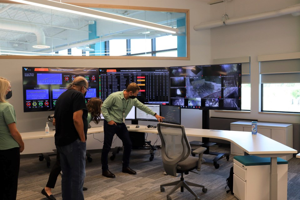 Dino Otranto, chief operating officer of Vale's North Atlantic Operations, leads a tour of the mining company's new operations centre in Copper Cliff. (Vale supplied photo)