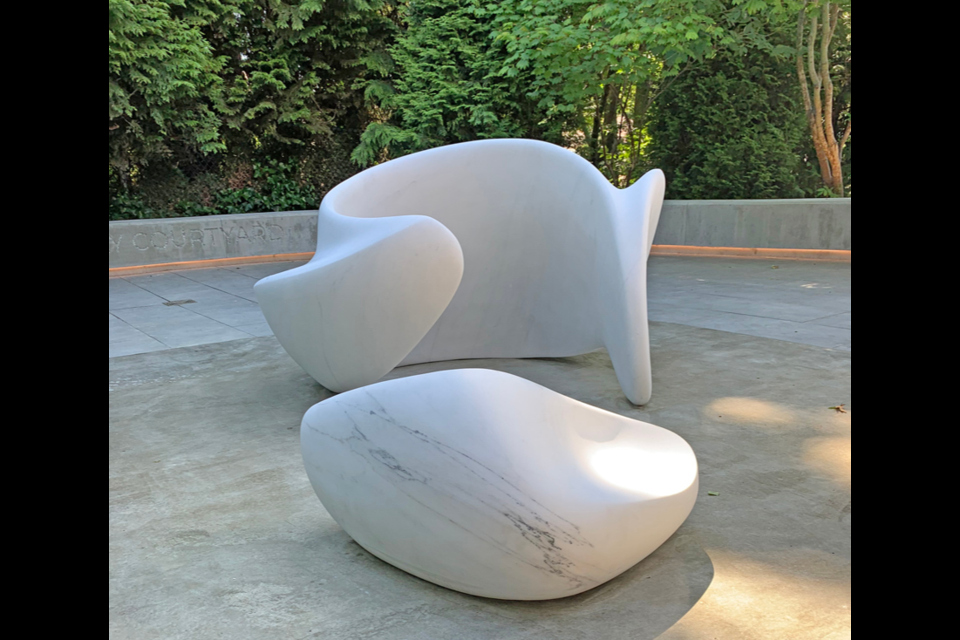 Marie Khouri's sculpture, 'Sit With Me, Share With Me', is part of the new courtyard at Kay Meek Arts Centre, unveiled on July 2, 2021.