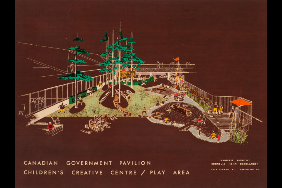 Cornelia Hahn Oberlander, Perspective view for Children's Creative Centre Playground, Canadian Federal Pavilion, Expo '67, Montréal, Québec, ca. 1967, dry transfer on negative photostat printed on cardboard.