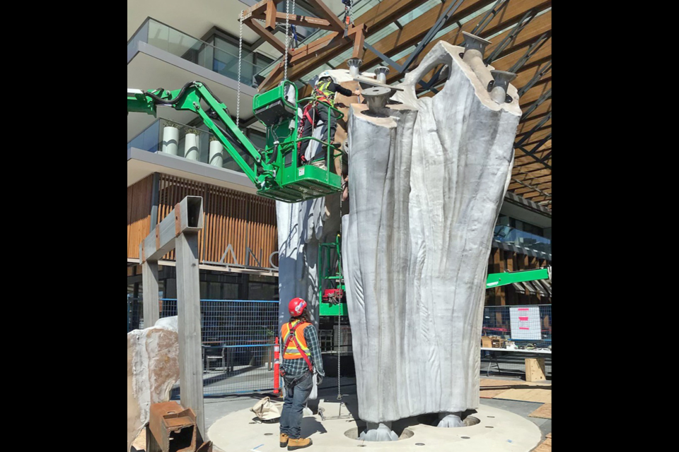 """""""Tree Snag,"""" a new public art piece by West Vancouver artist Douglas Coupland, is installed in the Ambleside area on April 15, 2021."""