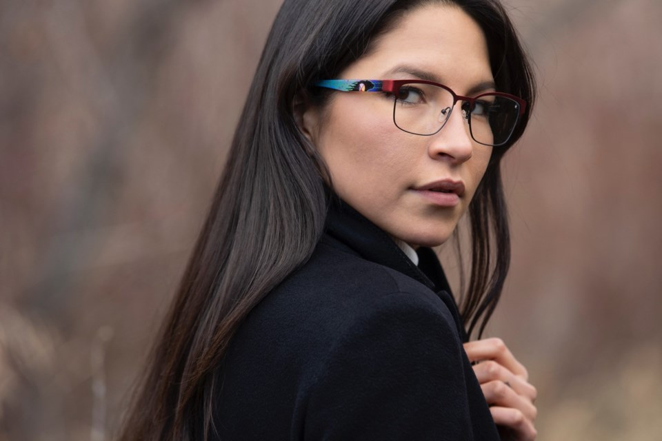 AYA Optical has launched a new collection featuring frames with Iconic Indigenous artwork by Ojibwe artist Donald Chretien and named for Dr. Bonnie Henry and Adrian Dix. Pictured is the Dixon frame.