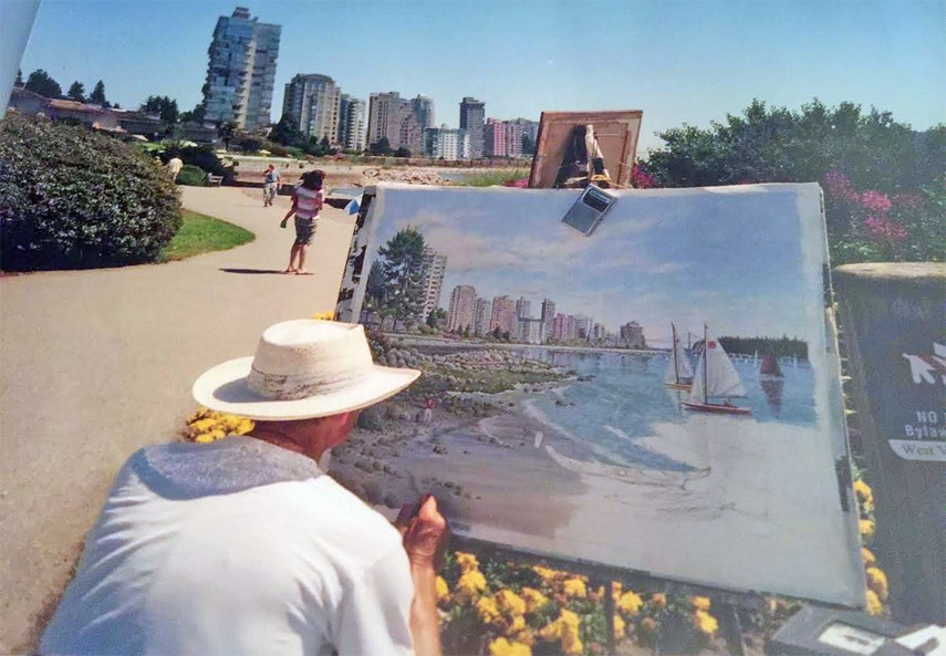 Painter Vojislav Morosan paints a West Vancouver scene some time between 2000 and 2006. Since Morosan's passing his wife has made it her mission to return his landscape pieces to the communities they're based on. Photo courtesy Norma Morosan
