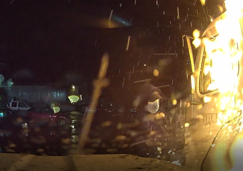 Dashcam footage shows the suspect in a Sept. 25. 2020, arson at Mitchell's Towing in North Vancouver.