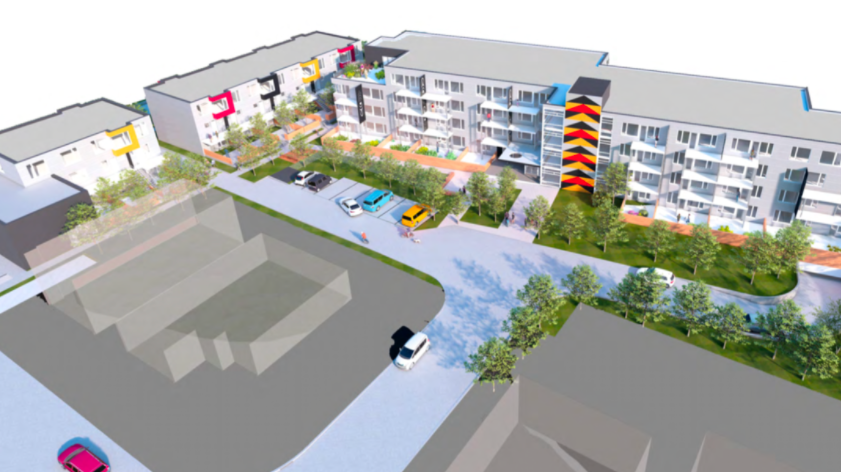 A rendering shows the proposed 94-unit affordable housing project at  the Welch and Mathias Road site, in the community of X̱wemelch'stn in North Vancouver.