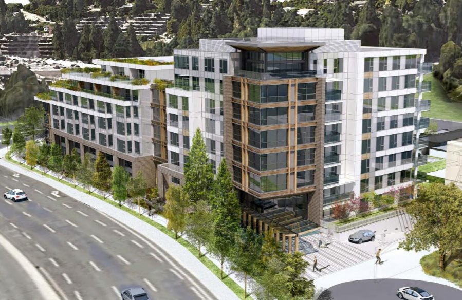 Executive Park Limited Partnership (Executive Group) has applied to the District of West Vancouver to rezone and develop 657 and 675 Marine Drive and 660 Clyde Avenue to allow for the construction of an 89-unit residential building. This is an artist's rendering of the building looking northwest.