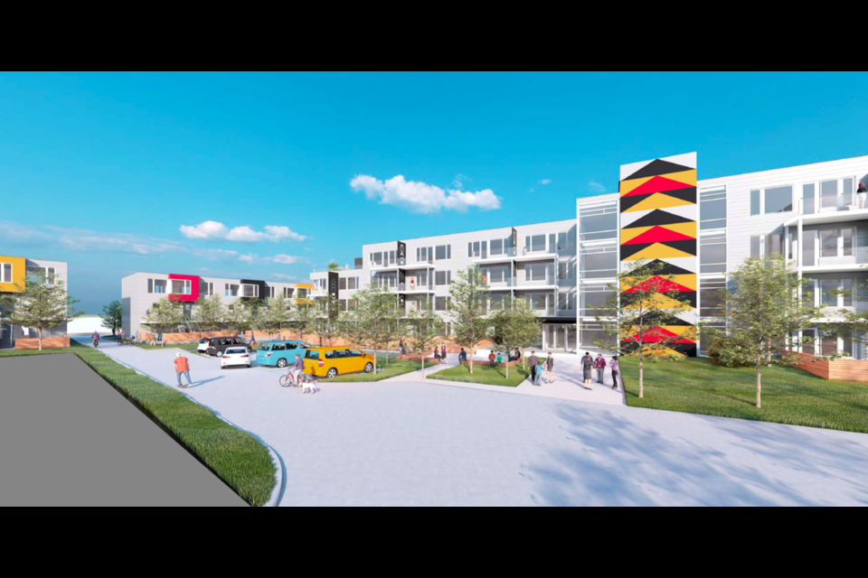 A rendering of the proposed 94-unit affordable housing project at the Welch and Mathias Road site, in the community of X̱wemelch'stn in North Vancouver.