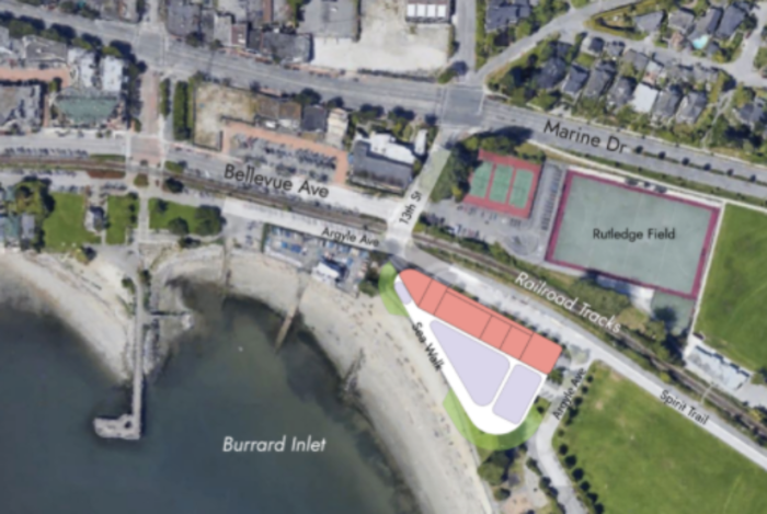 """Results from a community survey on two site options for a new art centre in West Van came back """"inconclusive."""" This image shows option two, the south parking lot, which would see an art centre built directly adjacent to the waterfront and south of the rail line and Spirit Trail."""