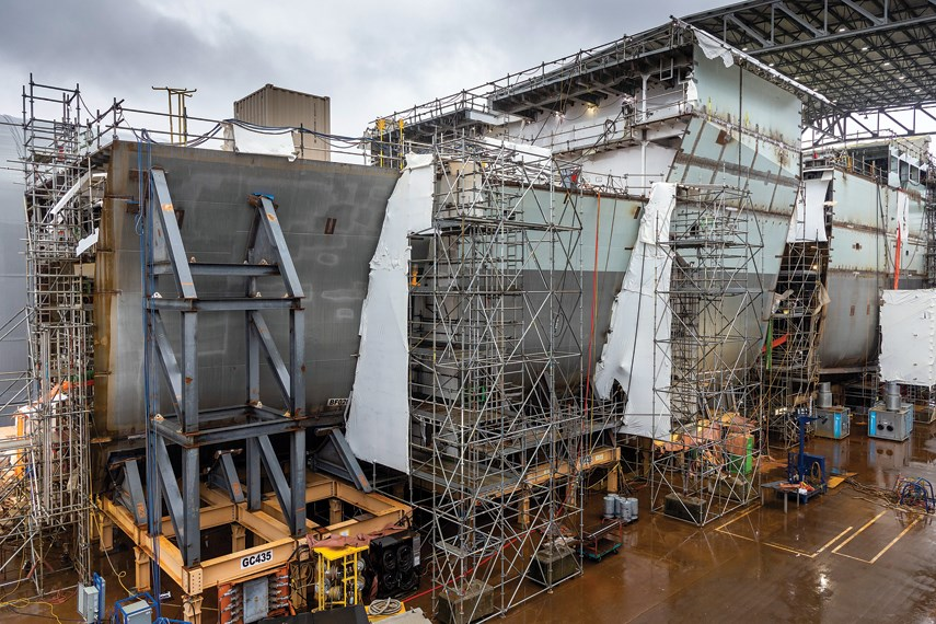 Work is underway at Seaspan Shipyards on the navy's joint support ships, pictured here in December 2020. The shipyard was awarded work on one of two polar icebreakers by the federal government on Thursday, May 6, 2021.