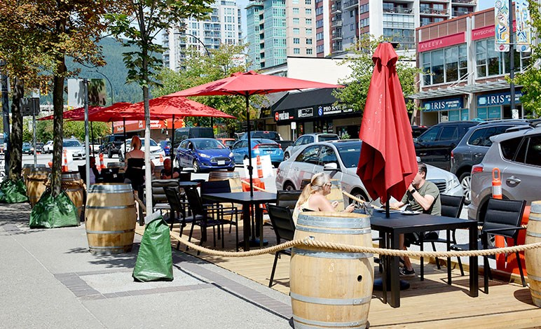 Patrons sit at Jack Lonsdale's Public House patio in July 2020. The City of North Vancouver's Temporary Patio Program has been extended for the duration of COVID-19 to support local businesses.
