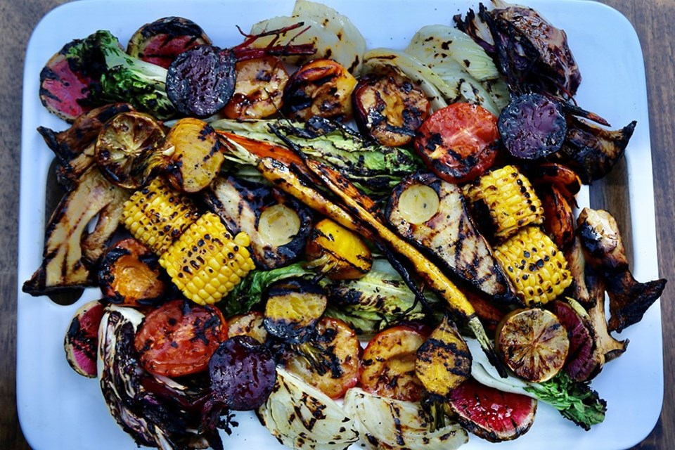 Beautiful, delicious, nutritious garden-fresh grilled vegetables and fruit.